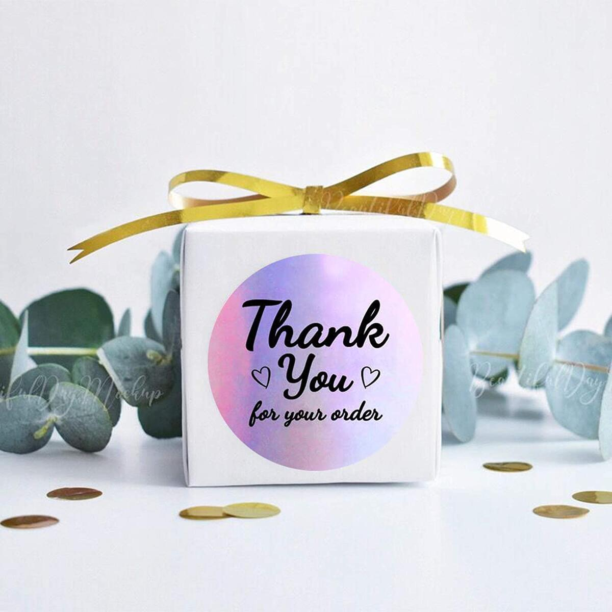 1.5 Inch 600pcs Thank You Stickers Thank You Labels Holographic Stickers Rainbow Holo Stickers for Sealing, Greeting Cards, Boutiques Gift Wraps, 6 Designs
