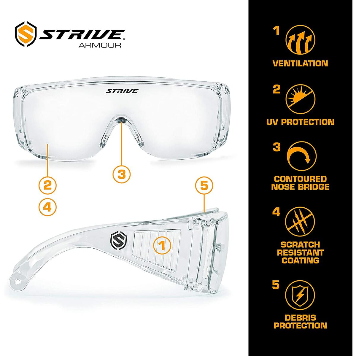 Strive Fusion Clear Safety Glasses Over Glasses - 2 Pack