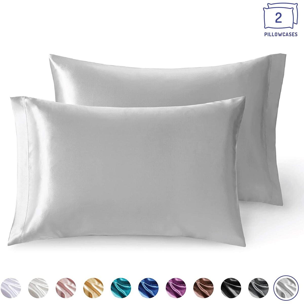Satin Pillowcase King Size for Hair and Skin   Pillows Cases Set of 2, 20 x 40 Inch   Cool Pillow Case Reduce Skin Irritation & Frizzy Hair   Retains Color in Easy Machine Wash & Dry