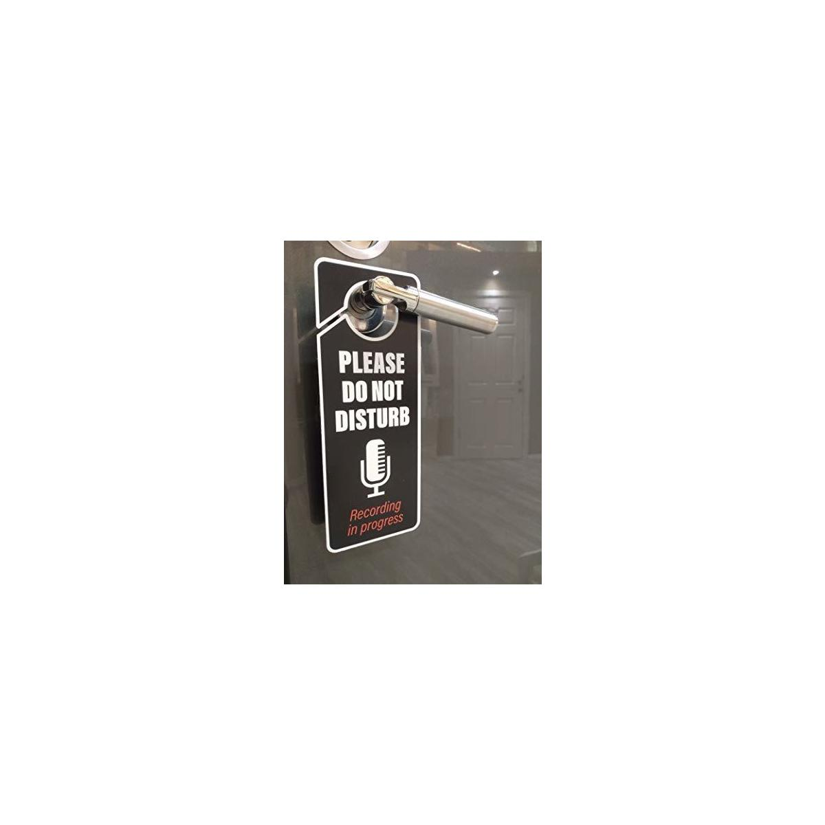 Recording in Progress - Please Do Not Disturb Sign, Door Knob Hanger 2 Pack, Double Sided, Ideal for Using in Any Room.
