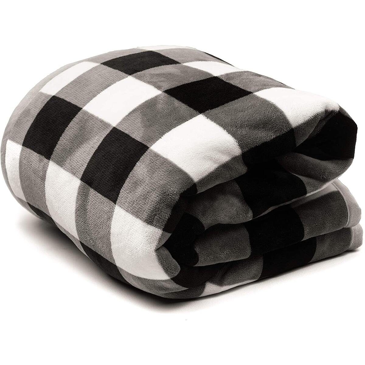 Muric Buffalo Check Sherpa Fleece Blanket and Pillow Set