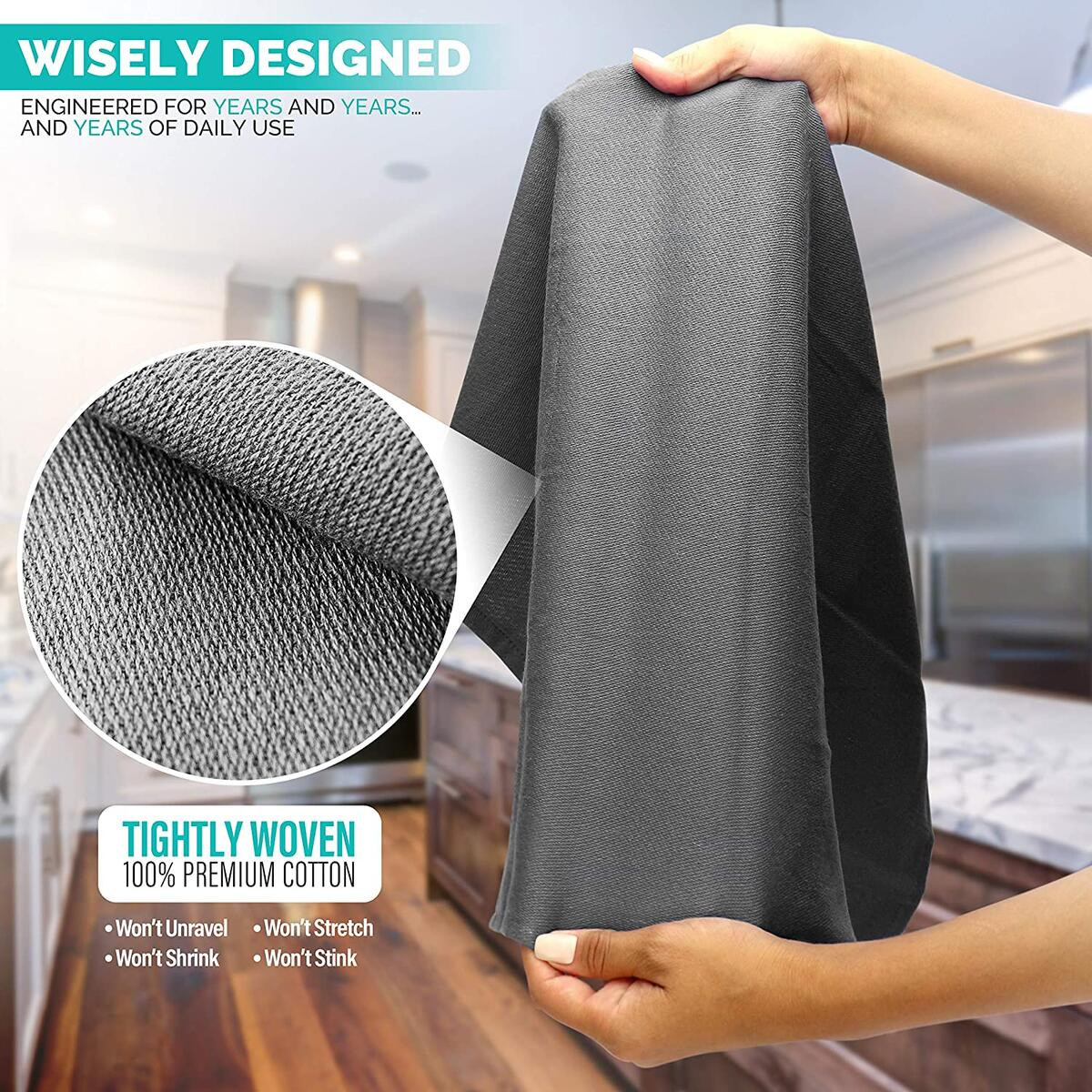 Kitchen Towels & Dishcloth Sets – Amazing Lint-Free, Odor & Stain Repelling Flour Sack Towels & Dish Sets for Drying Dishes Polishing Serving Dinner Napkins – 4 Kitchen Towels(Grey/White, 28