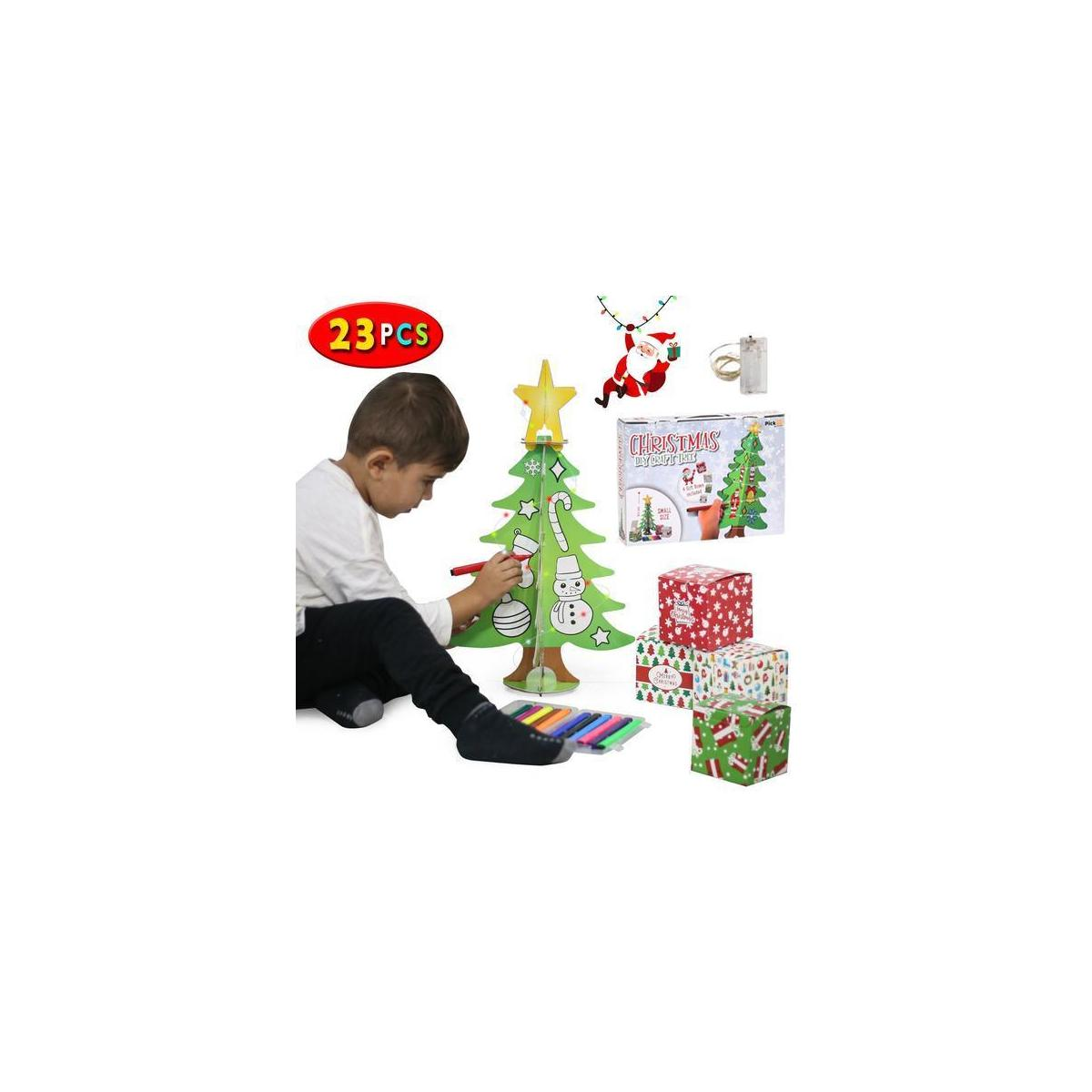 PICKME DIY Christmas Tree Craft for Kids Xmas Gifts | 6Pcs 1.6ft 3D Christmas Tree Toy with 12 Paint Markers, 4 Craft Gift Boxes, 2m LED Strip Light…