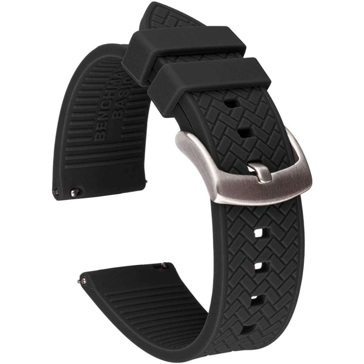 22mm Herringbone Pattern Silicone Quick Release Watch Band - Black, Navy Blue or Grey