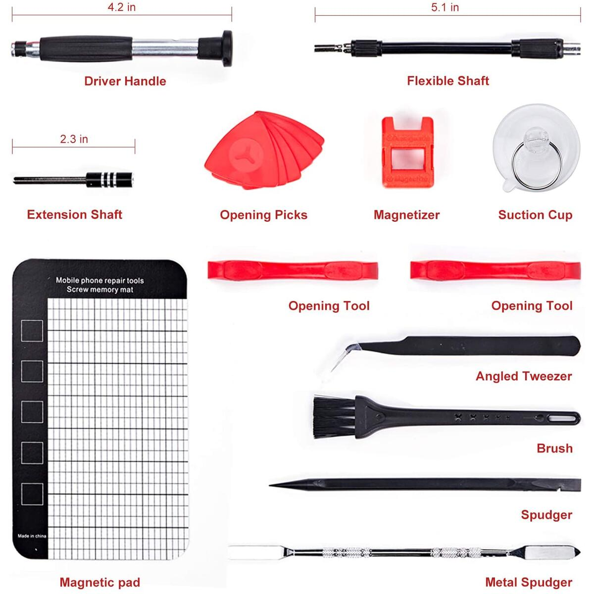 SHARDEN Precision Screwdriver Set 140 in 1 Magnetic Driver Kit Professional Repair Tool Kit with Portable Bag for iPhone, iPad, PC, Computer, Laptop, MacBook, Tablet, Xbox, Game Console, Watch (Red)