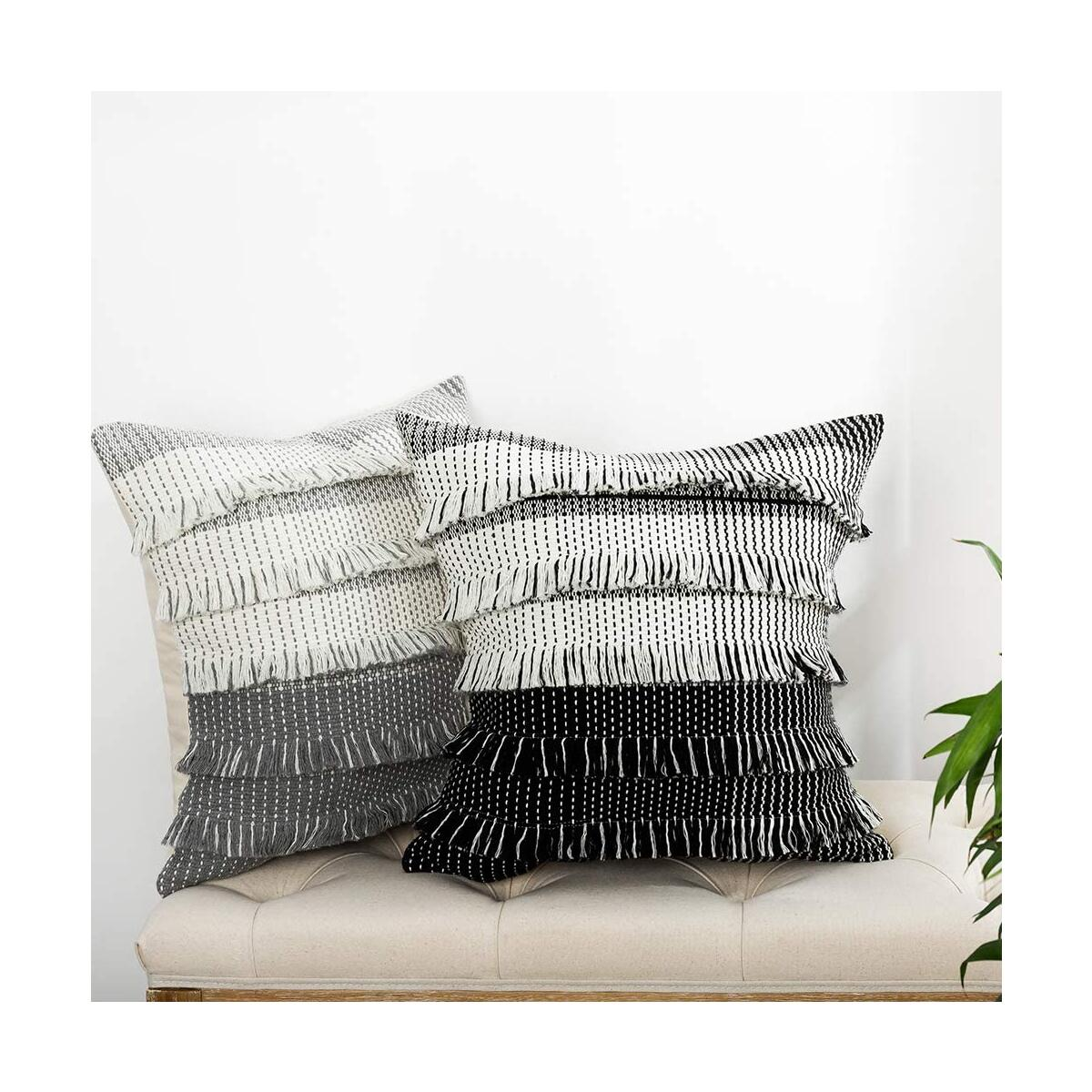 blue page Boho Decorative Throw Pillow Covers for Sofa Couch Bedroom, Gradient Grey Fringes Square Cushion Cover 18 x 18 Inch, Modern Accent Home Décor Soft Pillowcase (Handmade, Neutral)