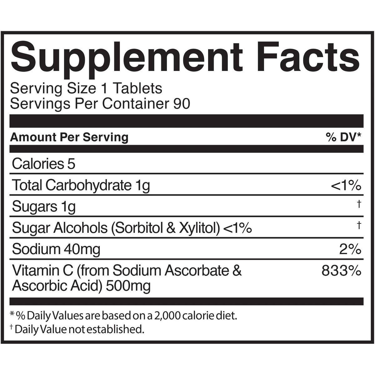 KOS Vitamin C 500mg Chewable Tablets - 90ct