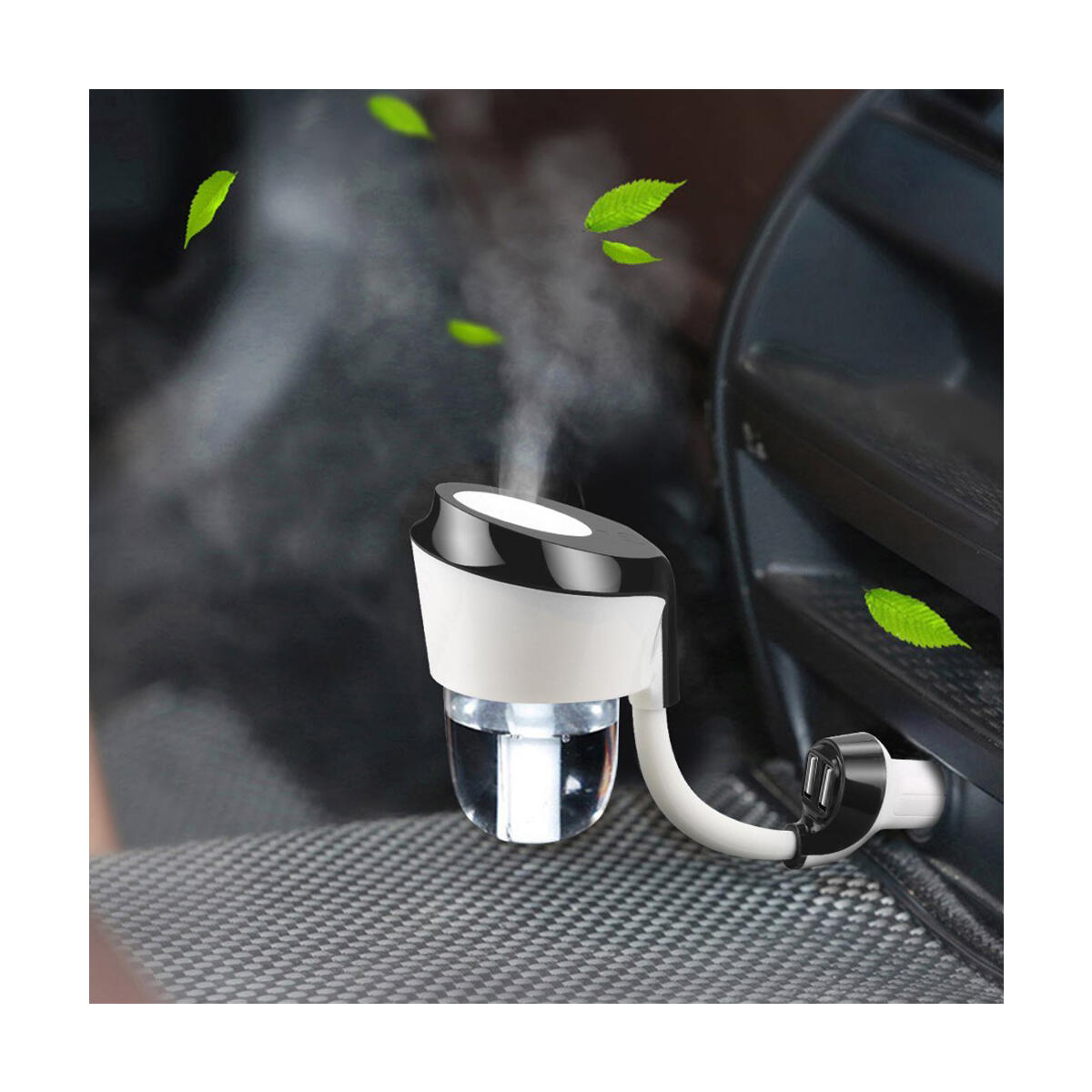 Car Diffuser Humidifier, Essential Oil Diffusers with Dual USB Charger Adapter(90265)