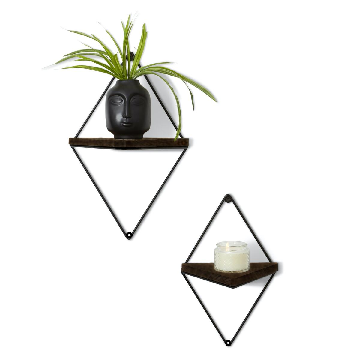 Floating Rustic Wood Triangle Shelves- Set of 2
