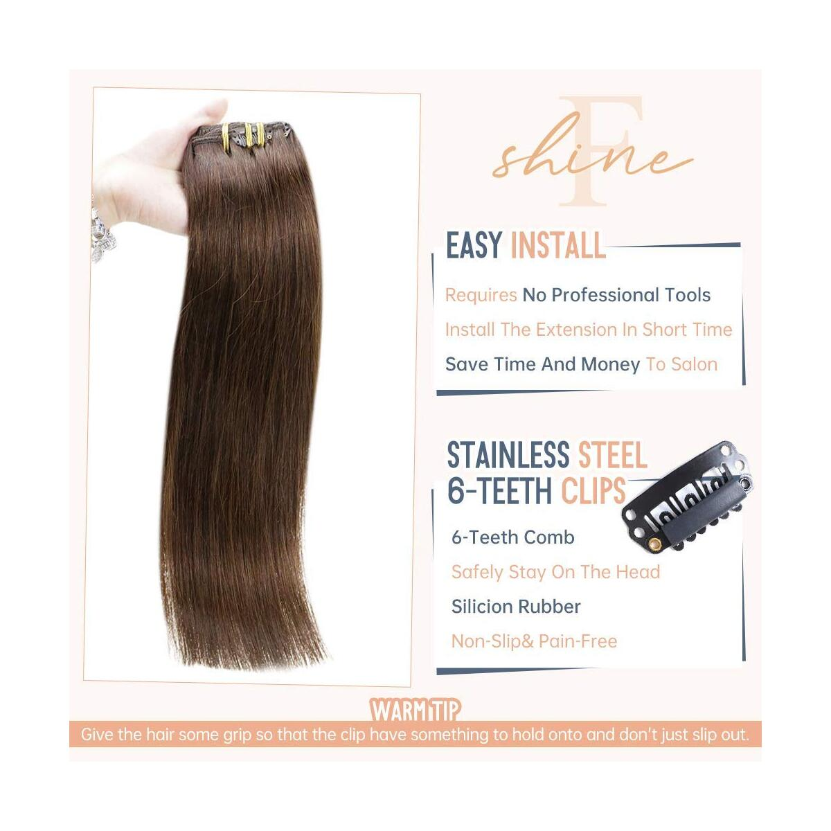 Fshine Clip Hair Extensions Brazilian Hair 20 Inch Color 4 Medium Brown Remy Human Clip Hair Extensions Real Hair, Clips ins Double Weft For Women 7 Pcs 100 Grams