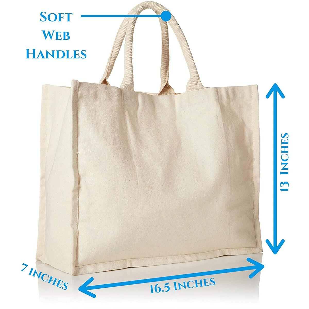 5 Pack Canvas Reusable Grocery Bags, 100% Cotton Shopping Tote for Daily Use, Reusable Grocery Bag with Cotton Web Handle, 16.5 Inches Wide, 13 inches tall, 7 inches wide Gusset, Ivory Colour