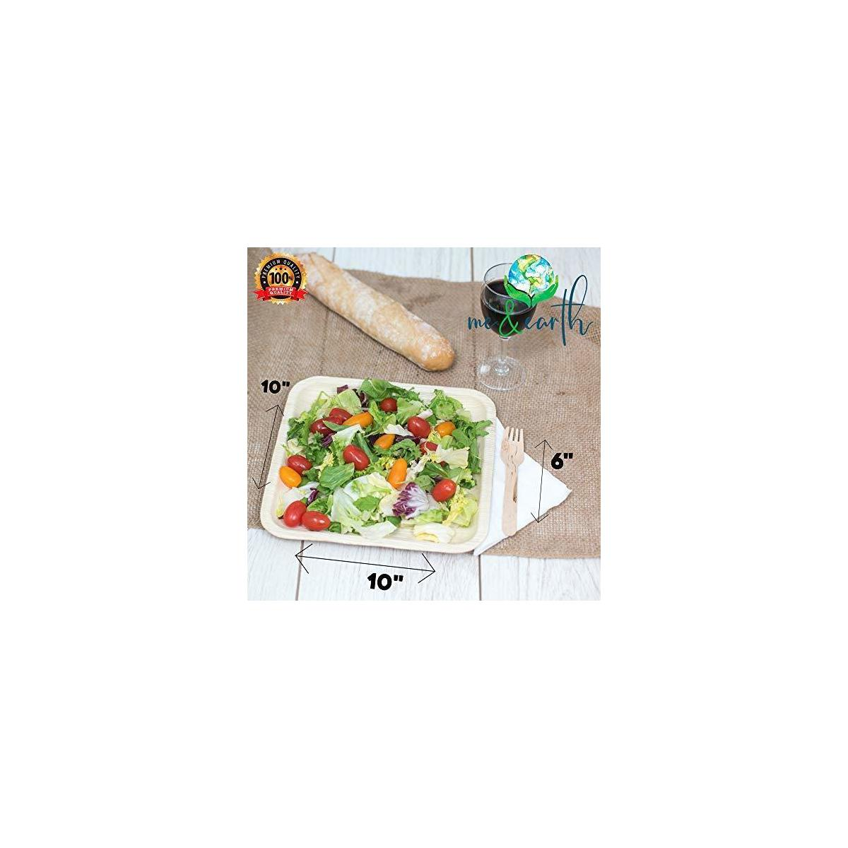 Me&Earth Bamboo Style Plates 10-Inch Disposable Square Palm Leaf Plate Set (90 Pack) Includes 30 6-Inch Birch Wood Forks and 30 Napkins - Eco-Friendly Biodegradable, Compostable Plates…