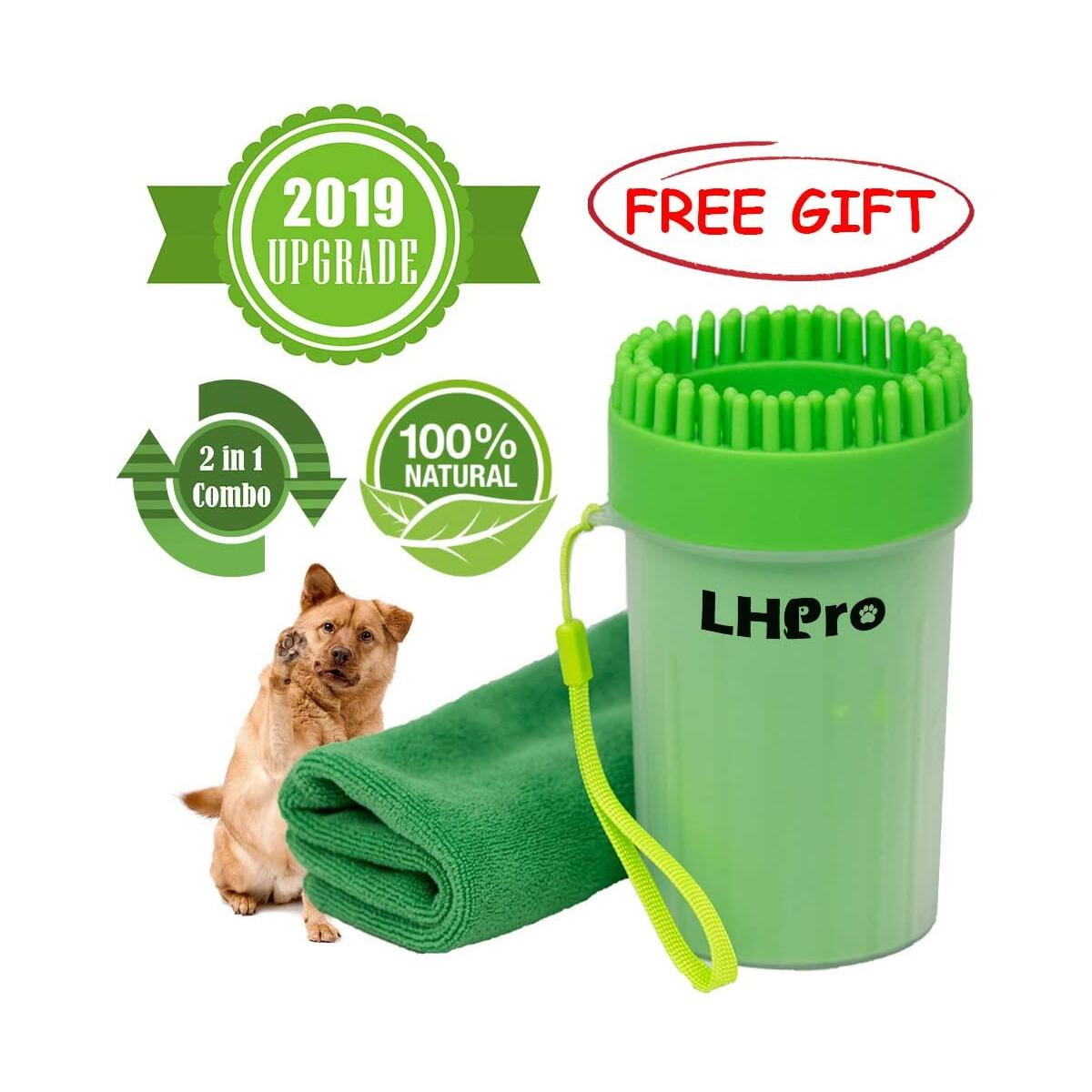 LHPro Portable Upgrade Dog Paw Cleaner - Handy Mud Buster Cup Paw Plunger for Cleaning Massaging Grooming Brushing Body and Foot for Big Medium Small Dog or Puppy Indoor Outdoor Anywhere