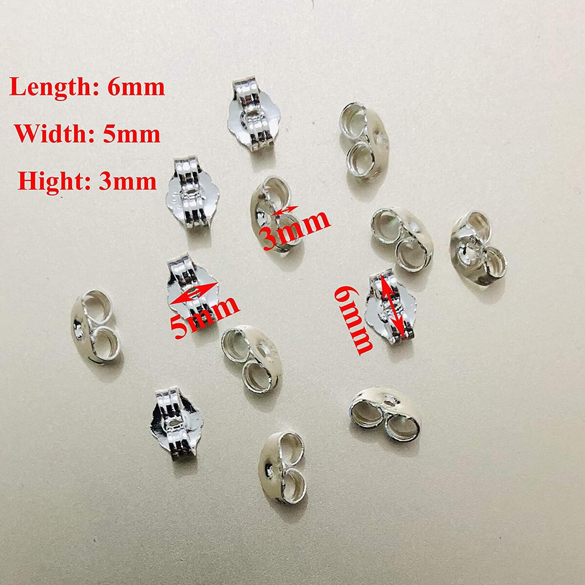 12pcs/6 Pairs 925 Sterling Silver Earring Backs Replacement Secure Ear Locking for Stud Earrings Ear Nut for Posts, 5x6mm