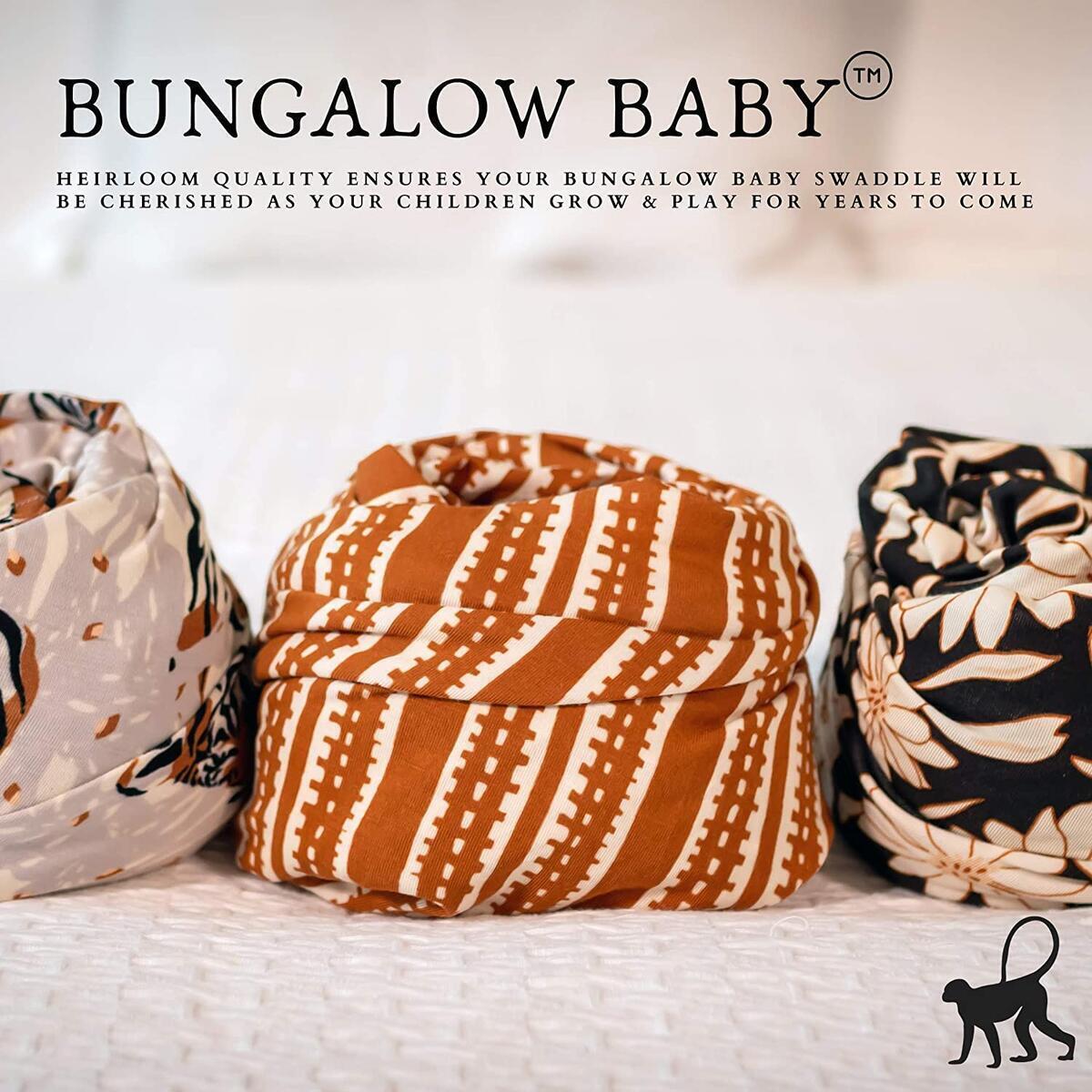 Bungalow Baby Swaddle Set - Premium Bamboo Viscose Baby Swaddle Blanket & Hat Set, Baby Boy, Baby Girl, Unisex, Newborn Swaddle, Baby Wrap, Bamboo Blanket, (Tribal Stripe)