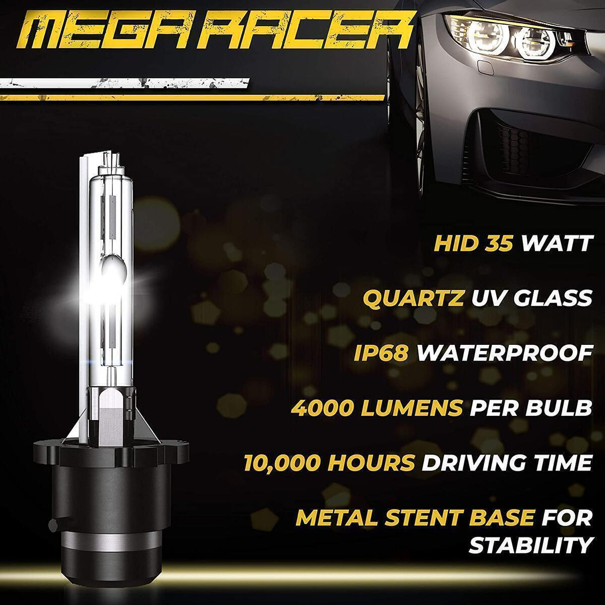 Mega Racer D4S HID Bulb 8000K Ice Blue D4S/D4R Xenon HID Bulbs for Low Beam High Beam Replacement Bulbs, 35W 8000 Lumens Metal Stents Base 12V IP68 Waterproof, Pack of 2