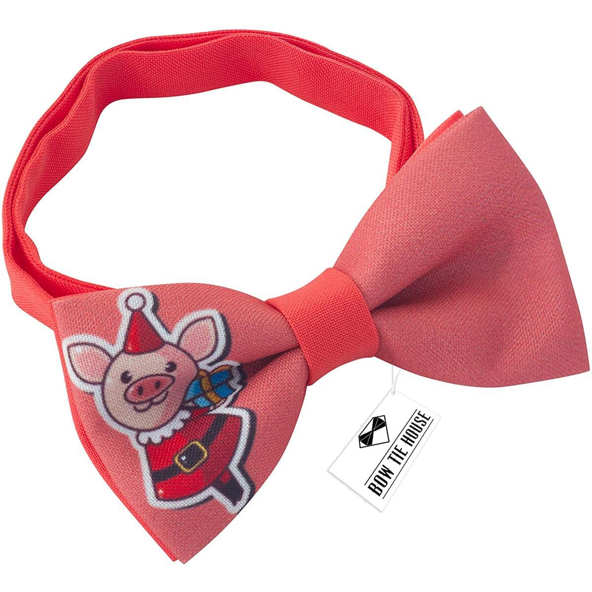 New Year Christmas bow tie pattern pre-tied, by Bow Tie House (Medium, Red Pig)