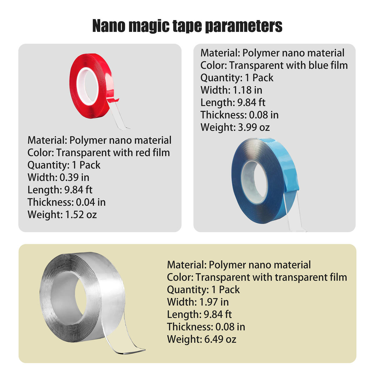 Nano Magic Double Sided Tape 4pcs Set-3 Size Heavy Duty Tapes and 1 Ceramic Folding Knife,Traceless,Reusable,Washable,Seamless,Transparent Removable Gel,Mounting Adhesive,Sticky Strips,Multipurpose