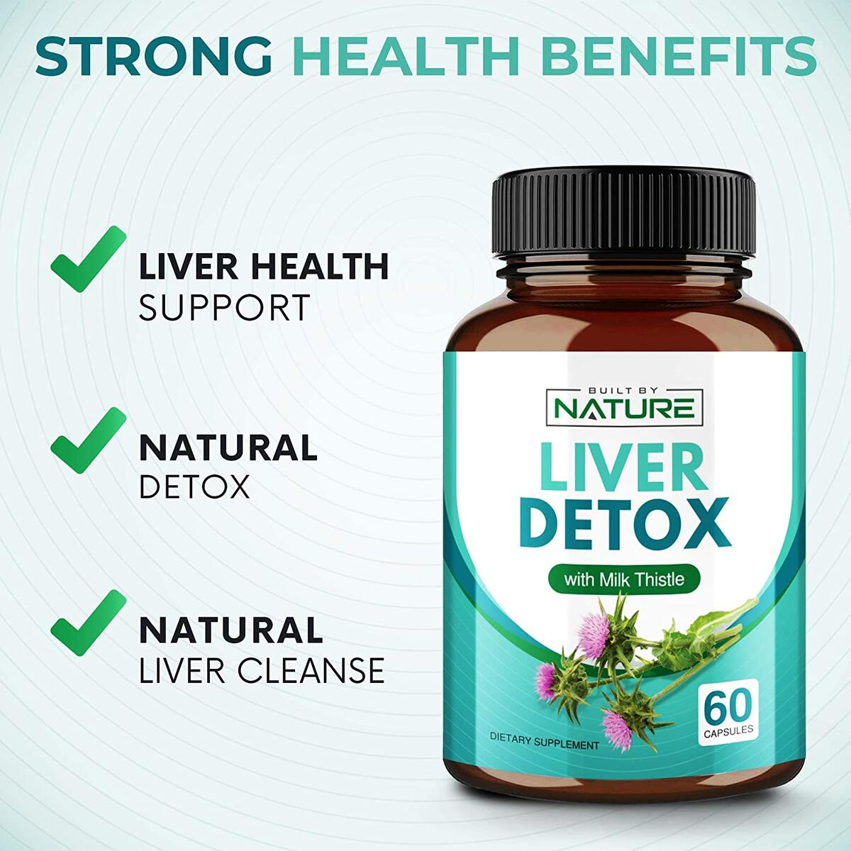 Liver Detox Supplement with Milk Thistle for Liver Cleanse Support, 60 Capsules (30 Day Supply)