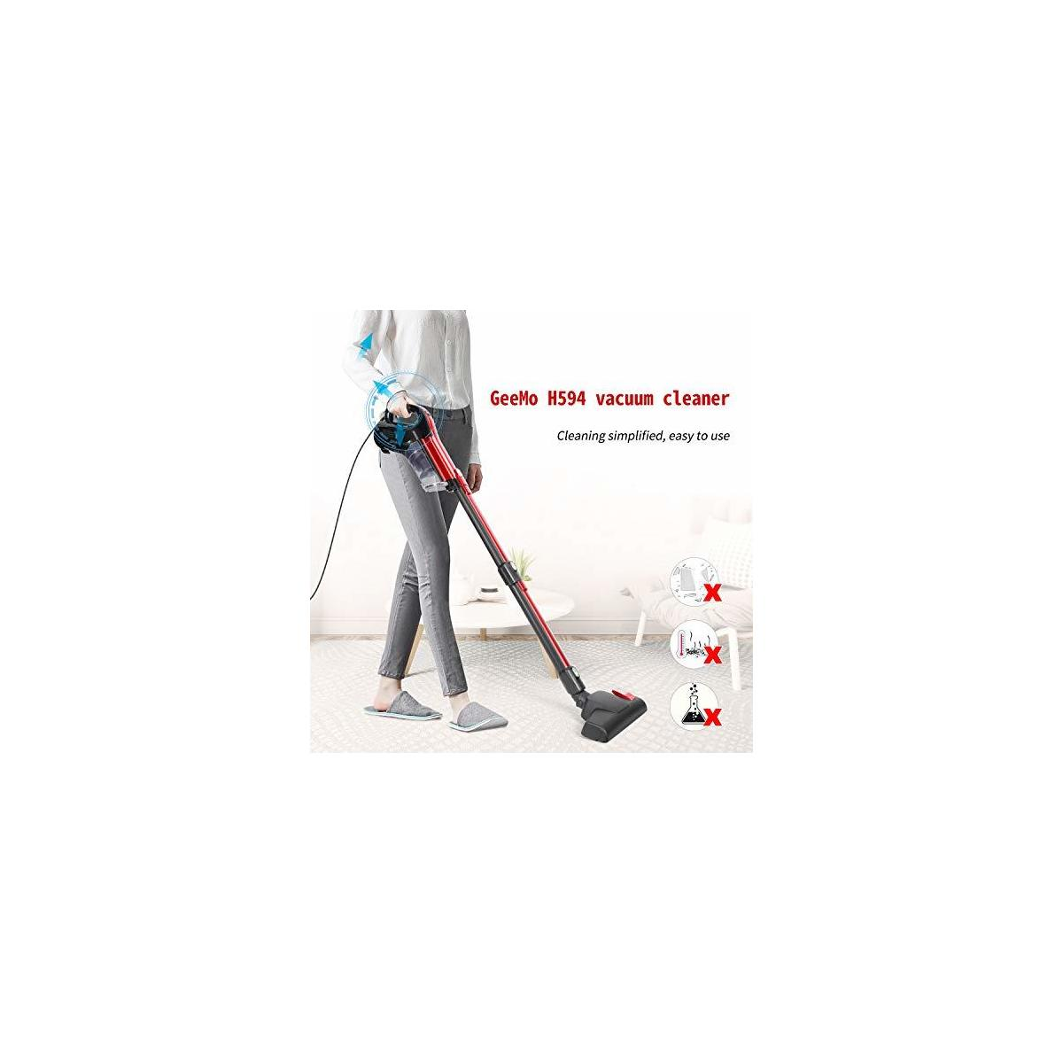 GeeMo Vacuum Cleaner 17Kpa Powerful Cleaning Lightweight and Corded with HEPA Filtration for Hard Floor H594