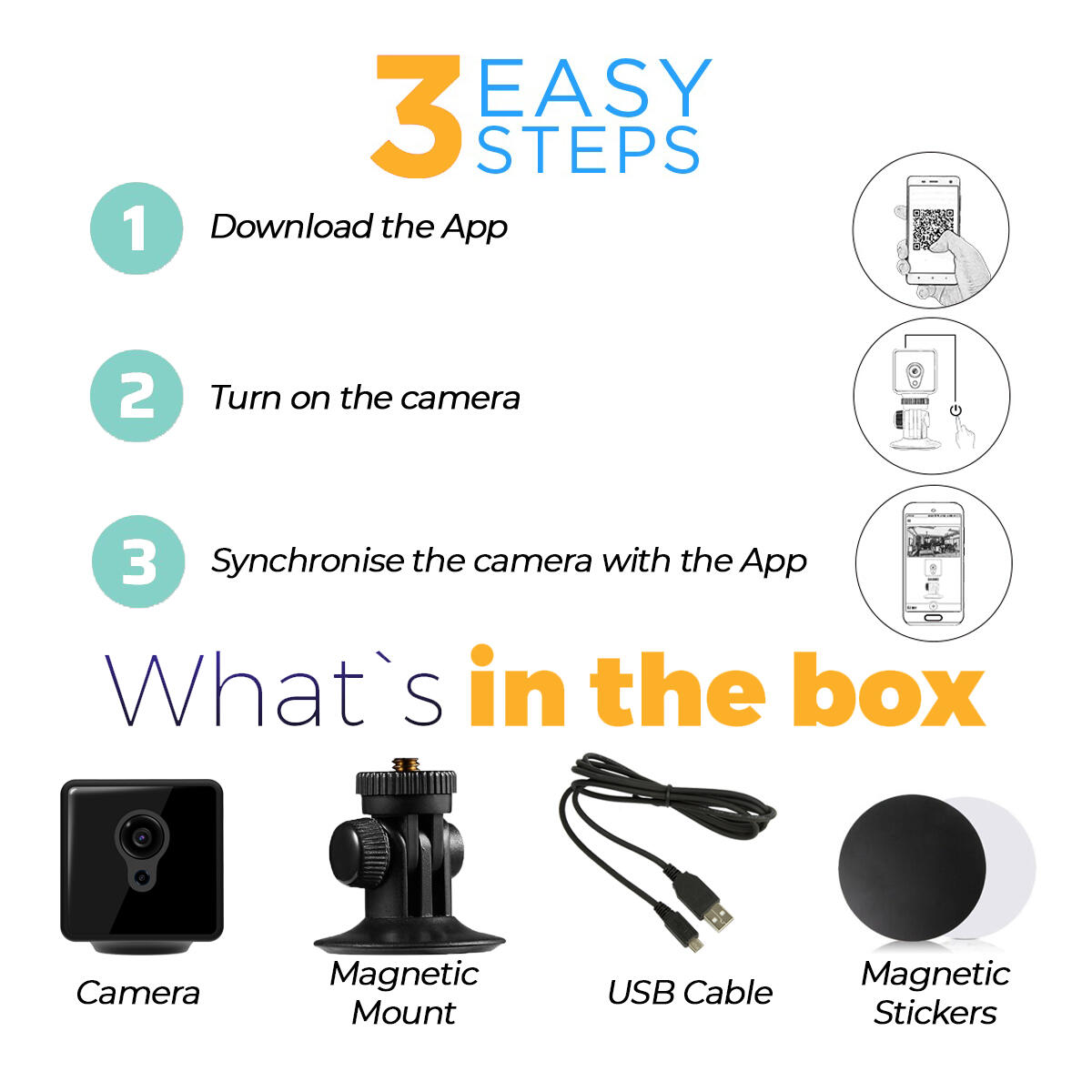 Wireless Spy Camera with Audio & Night Vision - Hidden Cam with Phone App & Recording