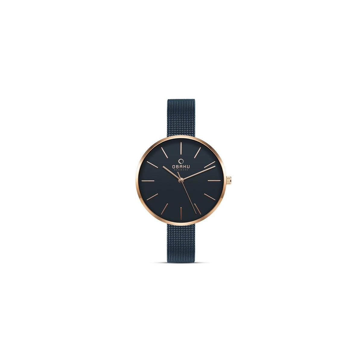 Obaku Denmark - Womens Designer Watch - Classic Yet Modern Design Elegant Rose Gold Steel Case - Mesh Band - Model: Mynte (Sapphire Blue)