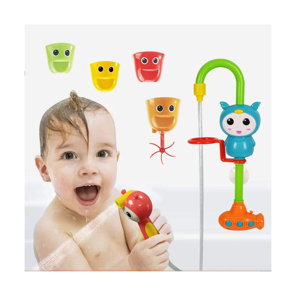 WISHTIME Baby Bath Toy, Baby Shower Head for Bath Bathtub Toy with Electric Water Pump with Hand Shower and 3 Stackable Cups, Automated Spout for Toddlers Kids 1 2 3 4 Year Old Girls Boys