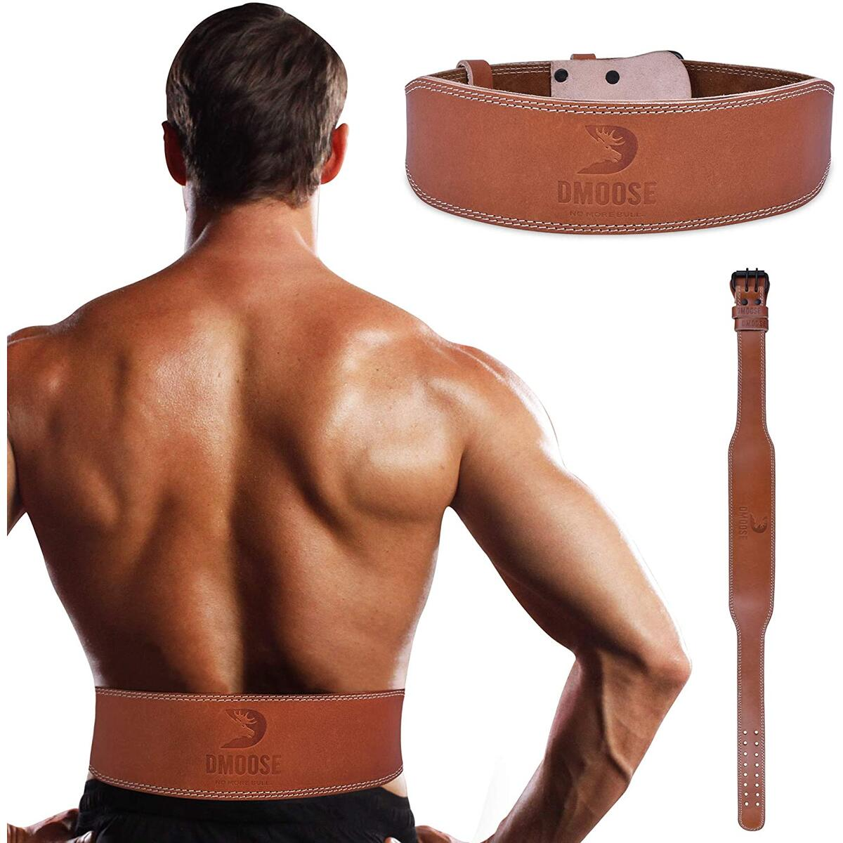 DMoose Weightlifting Leather Brown/White Stitch (All Available Sizes 4 INCH ONLY)