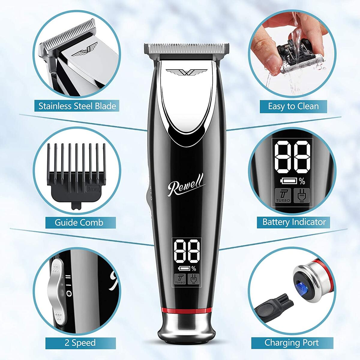 Rewell Men's Cordless Hair Clipper, Professional Hair Trimmer for Grooming, Electric Barber Rechargeable T-Blade Home Hair Cutting Kit