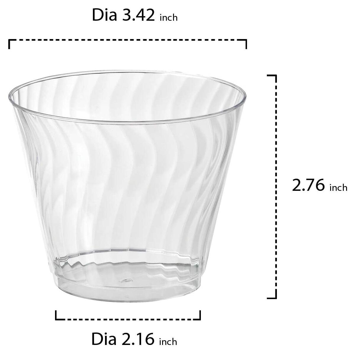9 oz. Disposable Hard Plastic Crystal Wave/Swirl Tumblers, Clear, Pack of 50 (ONLY)
