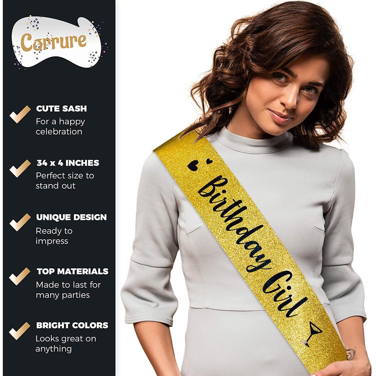 CORRURE 'Birthday Girl' Glitter Sash with Metallic Black Foil - Gold Glitter Birthday Sash for Women