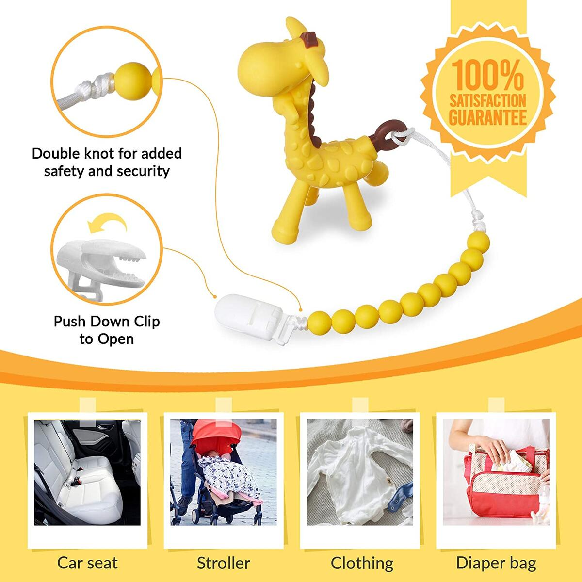 New LiaBebe Food Grade Baby Giraffe Teether Set, BPA Free, Baby Chew Toys Ideal for 0+ M Babies, Infants and Toddlers Perfect Baby Shower & Welcome Baby Gift for Boys and Girls (Yellow & Pink)…