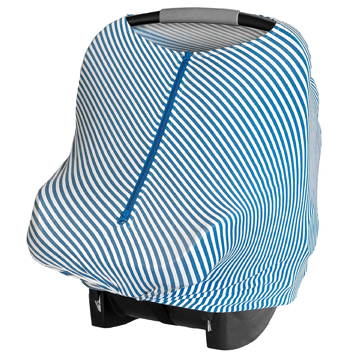 Baby Leaf Car Seat Cover with Zipper (Blue Stripes)