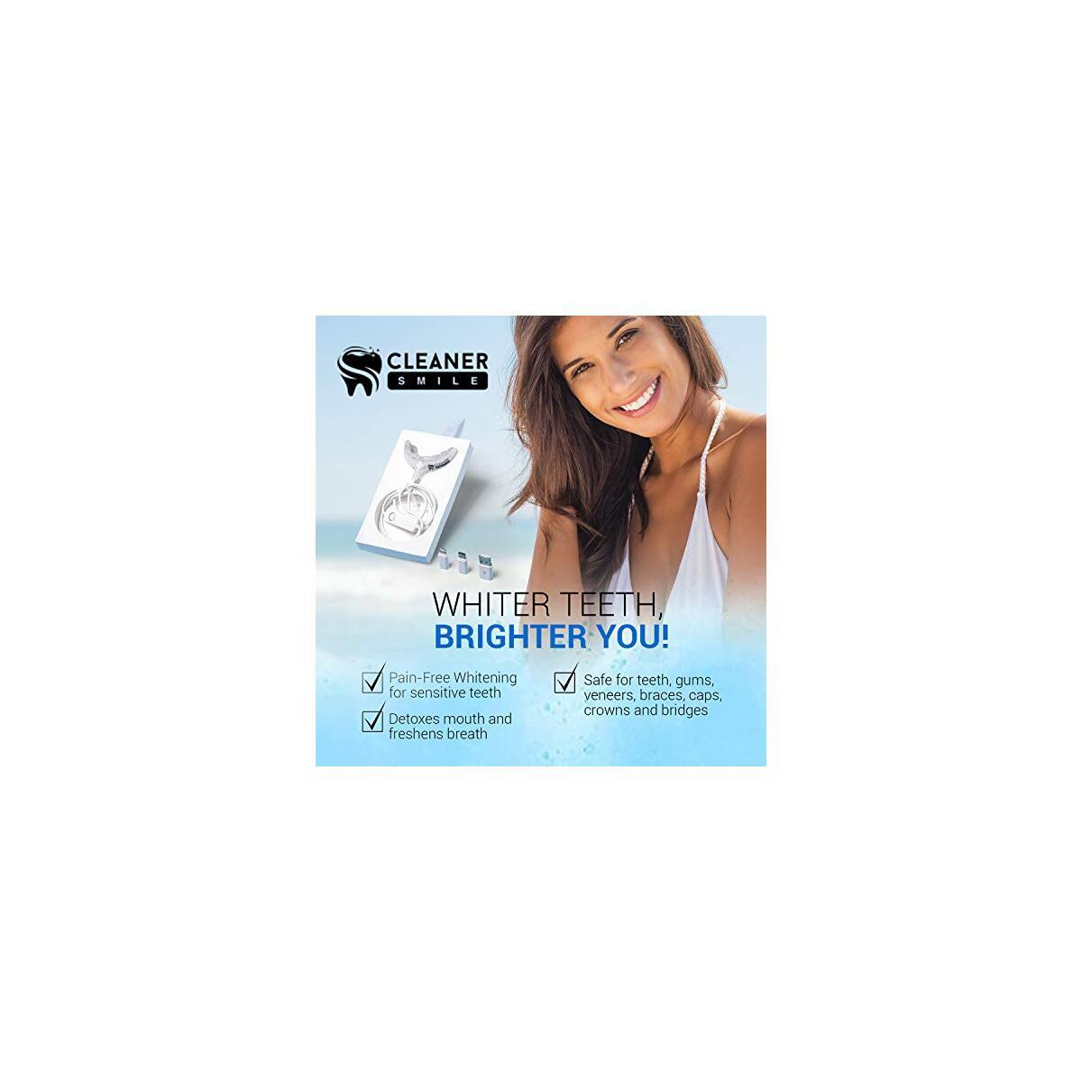 Cleaner Smile | Teeth Whitening LED Kit | Everything You Need for Whiter Teeth (Charcoal)…