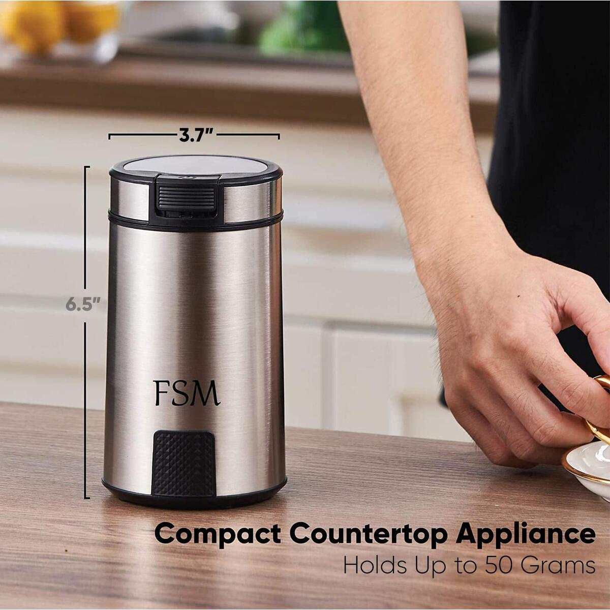 FSM Electric Coffee Grinder and Spice Mill with Safety Lock System – Rustproof Stainless Steel with Transparent Lid and Gripping Base – Grind Whole Beans, Seeds, Nuts and Herbs (1.76 oz Capacity)