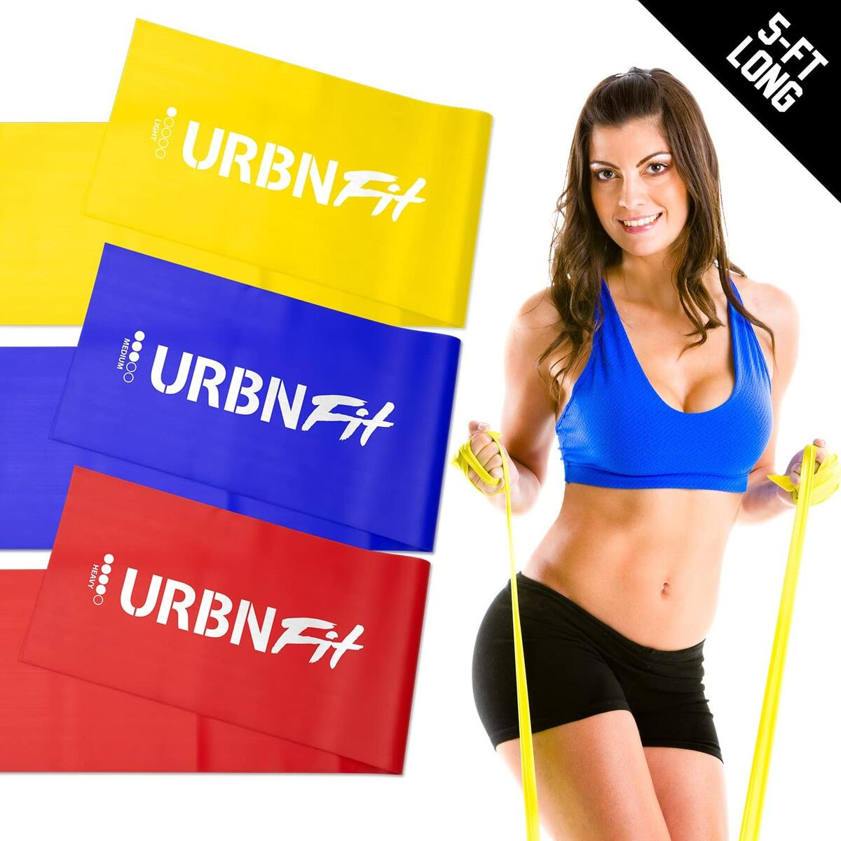URBNFit Resistance Bands - Long Rubber Exercise Band for Men & Women - Set of 3 for Stretching, Exercises, Physical Therapy, Fitness, Working Out & Strength Gain - with Bonus Workout Guide & Anchor