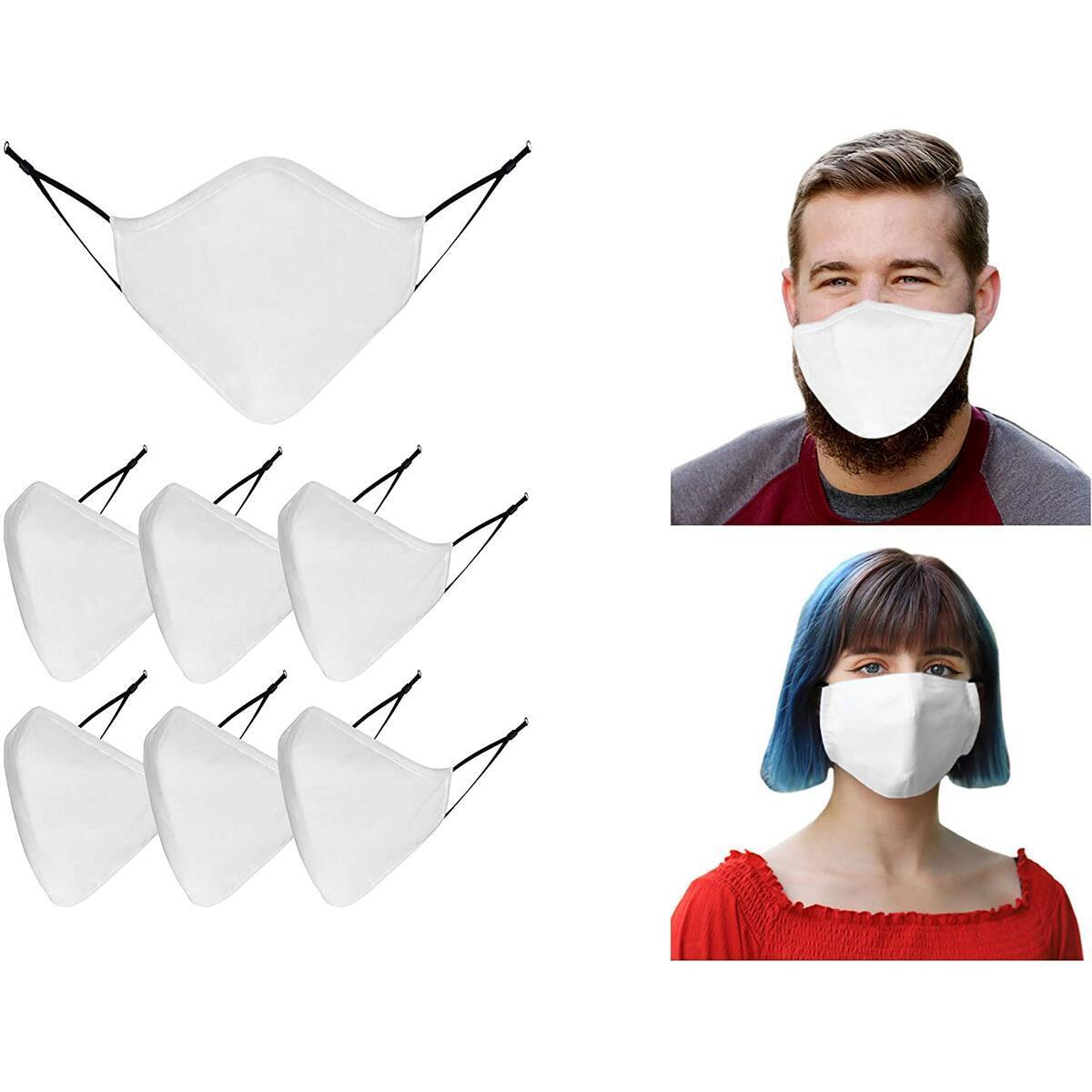Cotton Washable Cloth Face Mask - Adjustable and Reusable 3 Layer Protective Fabric Face Cover, Breathable Mouth Mask (Pack of 7, White)