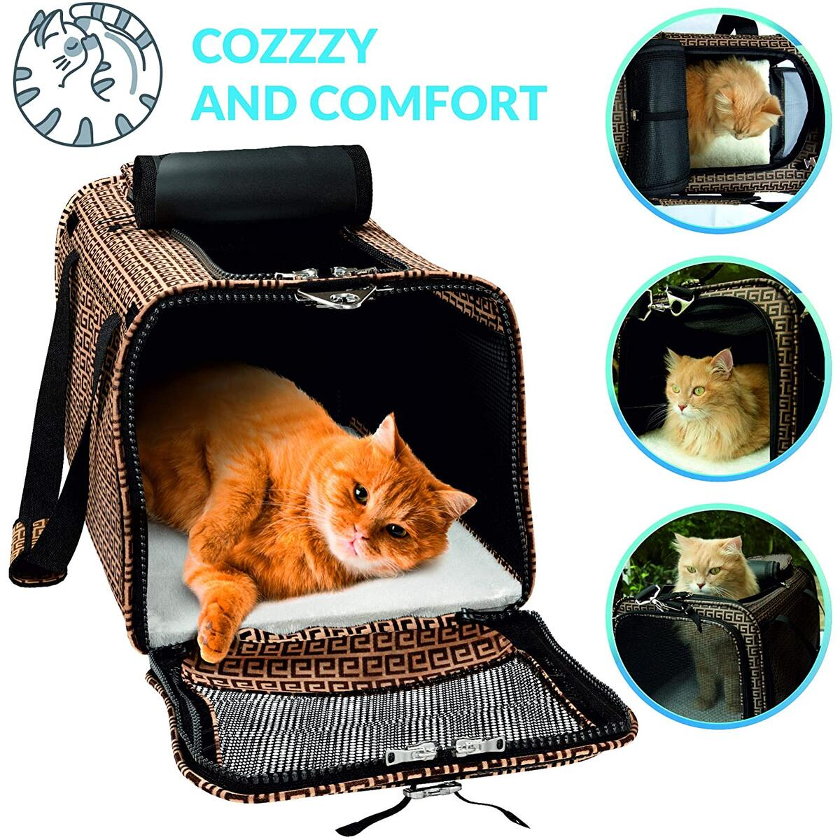 Brown Pet Travel Carrier for Small Dogs, Cats, other Small Pets