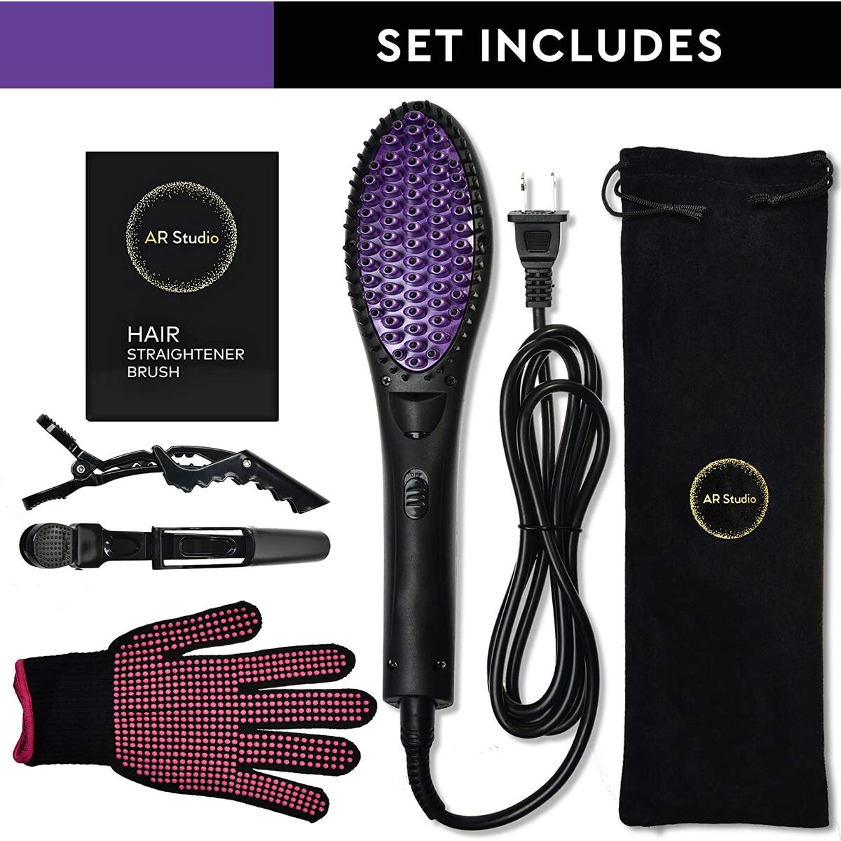 Straightening Hair Straightener Brush Flat Iron Comb Ionic Anti-Scald Faster Heating MCH Ceramic Technology with LED Display Portable Auto Shut Off for Silky Shine Hair