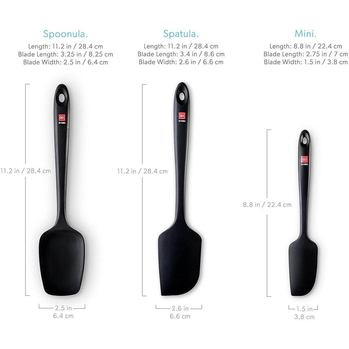 DI ORO Seamless Series 3-Piece Silicone Spatula Set - 600°F Heat Resistant Non Stick Rubber Kitchen Scraper Spatulas for Cooking, Baking, and Mixing (Black)