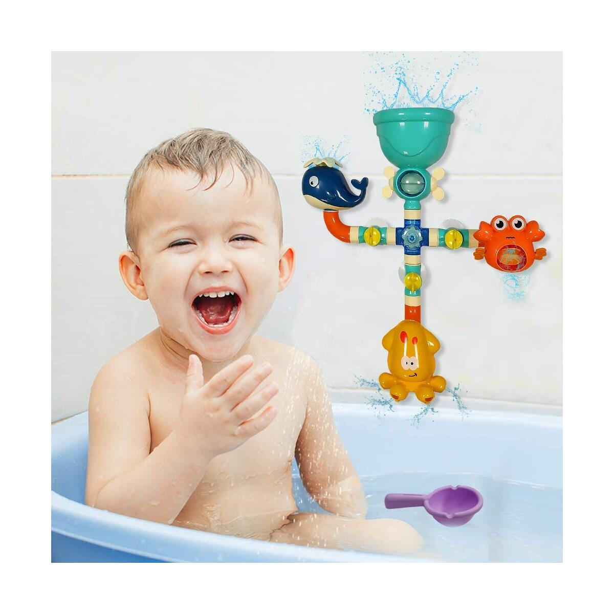 WISHTIME Bath Toys Bathtub Toys for 2 3 4 Year Old Kids Toddlers Bath Wall Toy Waterfall Fill Spin and Flow Non Toxic Birthday Gift Ideas Color Box