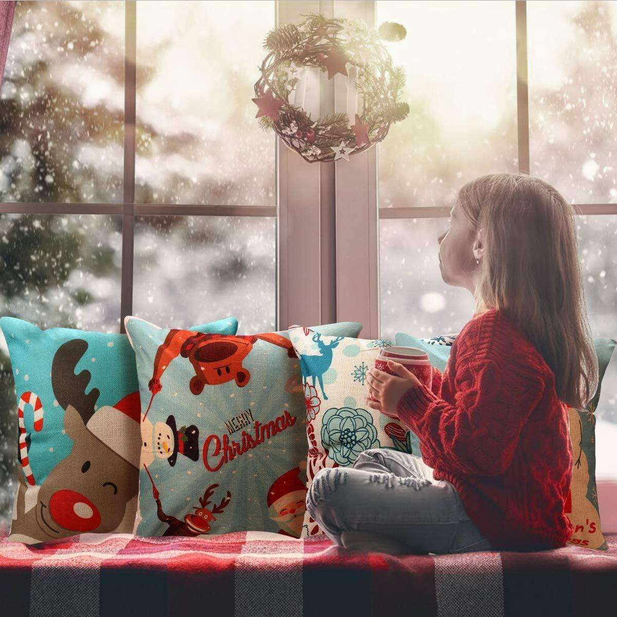 Merry Christmas Throw Pillow Covers 4 Pack Print Snowman,Xmas Deer,Santa Claus, Home Decorative Accent Pillow Cases 18x18 Inch, Cotton Linen - Sold by CHUDAO