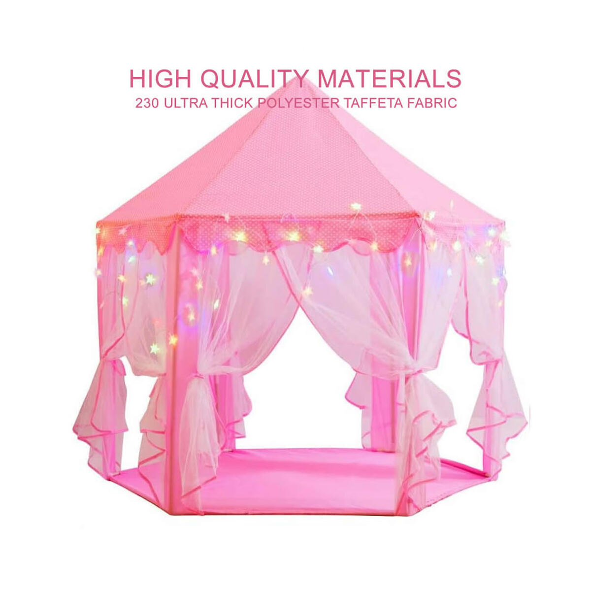 Princess Castle Playhouse Tent for Girls with 10 ft. LED Star Lights and 18 Pieces Hair Clips - Large 55