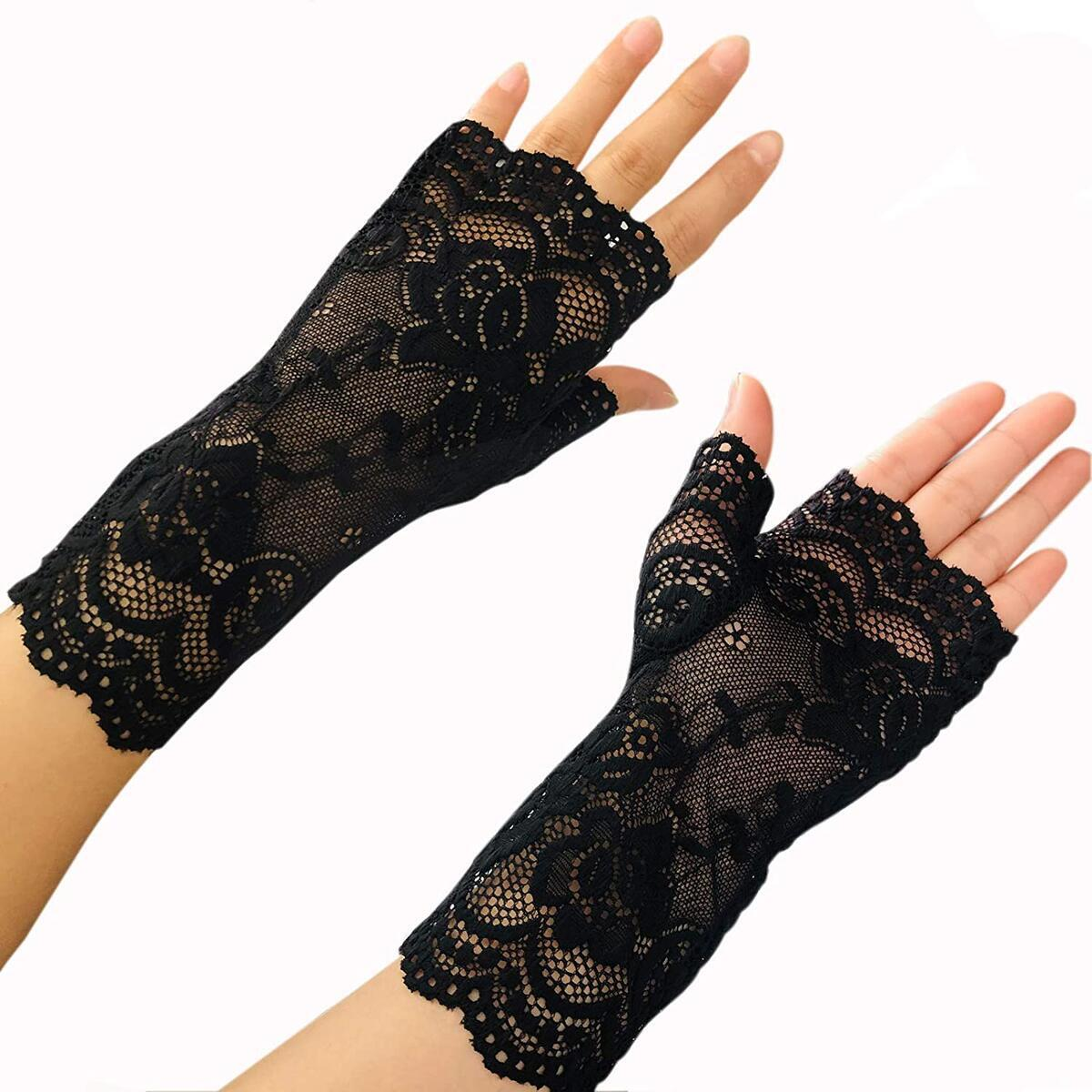 OPERA LENGTH FLOWER PATTERN WOMEN/'S LACE GLOVES VARIOUS COLORS