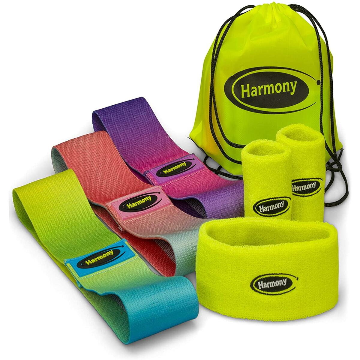 Fabric Resistance Bands Premium Quality with Non-Slip Design for Hips & Glutes, 3 Level Workout Booty Bands Bundled with Sweat Head and Wrist Band in a Backpack (Set of 7)