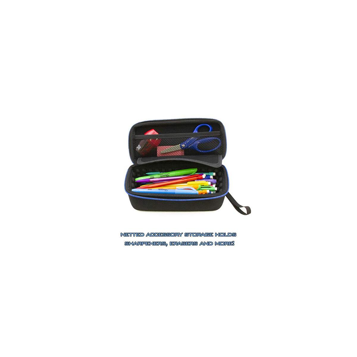CASEMATIX Pencil Case and Protective Pencil Pouch with Removable Wrist Strap - Large Pencil Bag for 50+ Pens, Pencils and Markers with Padded Divider, Netted Accessory Storage and More