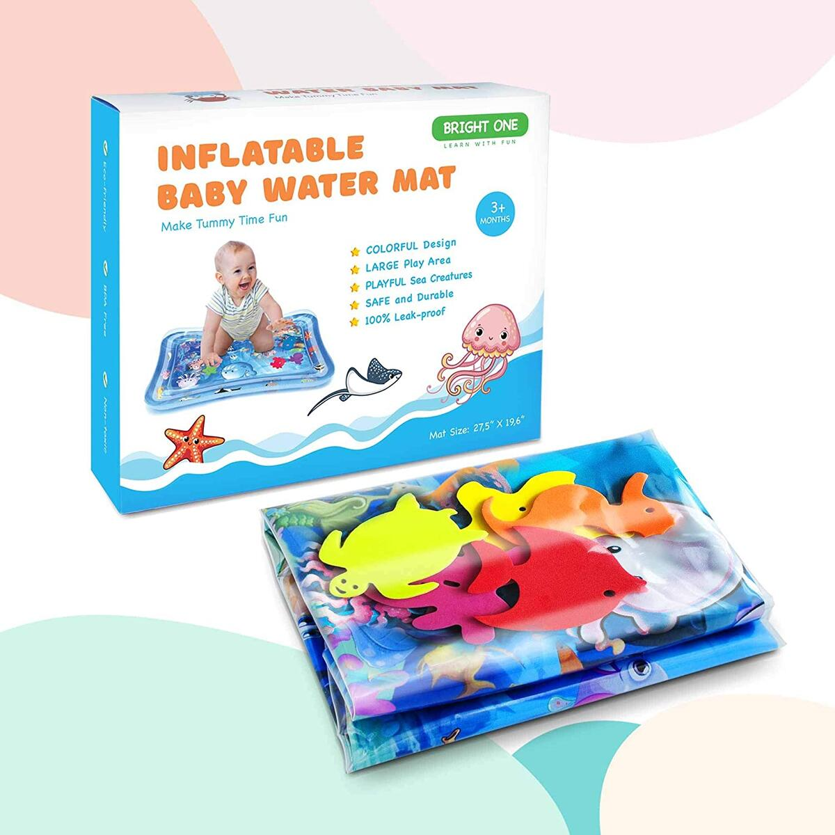 Tummy Time Water Play Mat - Inflatable Play Mat for Infants 3 6 9 Months - Sensory Baby Toys for Girls and Boys