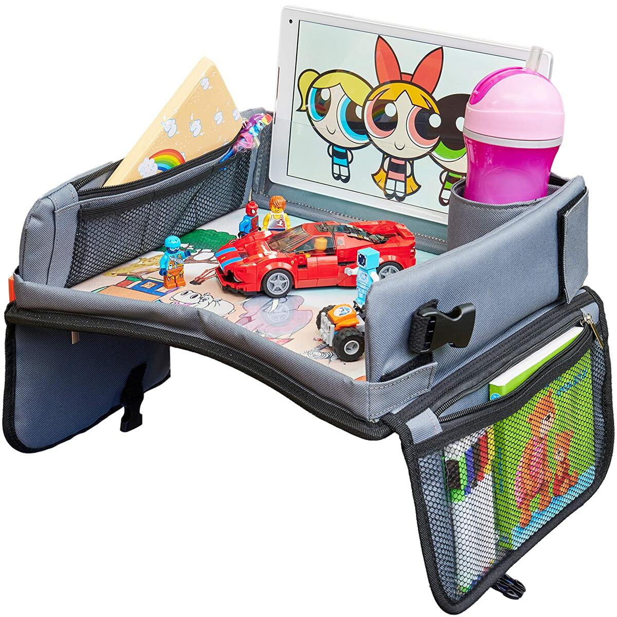 Kids Travel Tray, Car Seat Tray 13.5 x 12 inches Travel Art Desk for Kids, with Dry Erase - Keeps Children Entertained – Portable and Foldable + Storage Bag…