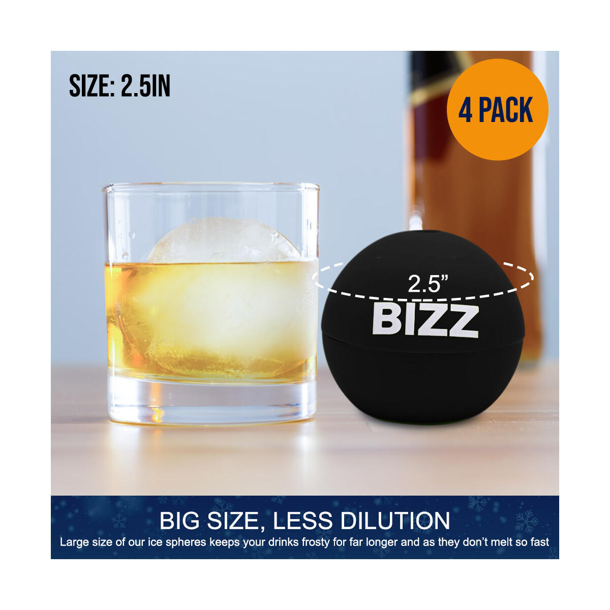 Round Ice Cubes - 4 Ice Spheres - Black