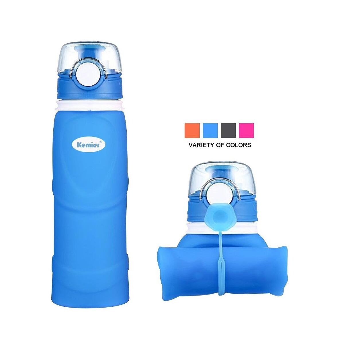 Kemier Collapsible Silicone Water Bottles-750ML,Medical Grade,BPA Free Travel Water Bottle Can Roll Up,26oz,Leak Proof Foldable Sports & Outdoor Water Bottles